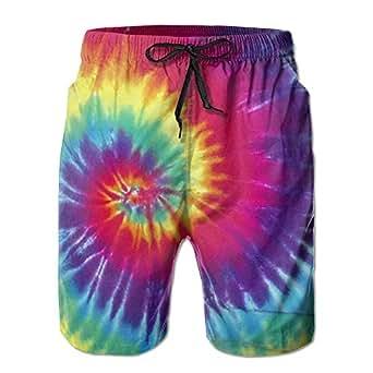b8b404586a Amazon.com: CMEY Men's Board Shorts Pastel Rainbow Tie Dye Swim Trunks  Summer Beach Shorts: Clothing