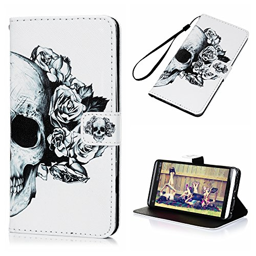 Price comparison product image LG V20 Wallet Case,  YOKIRIN Printed Skull Pattern Stand Feature,  Double Layer Shock Absorbing Premium Soft PU Color matching Leather Wallet Cover Flip Cases Protective Cover Skin Shell