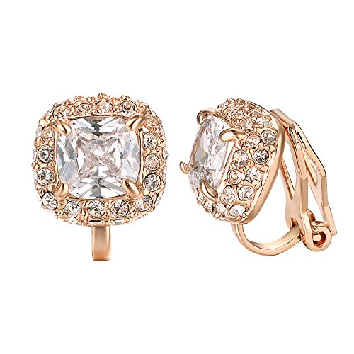 Tiny Framed - Yoursfs CZ Clip Earrings For Women 18K Rose Gold Plated Elements Zirconia Clip-on Earrings (Clip-on Earrings)