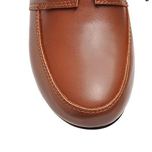 PU Lacet à AllhqFashion Rond Talon Femme Cuir Chaussures Légeres Brun Correct Foncé 465x1Zq