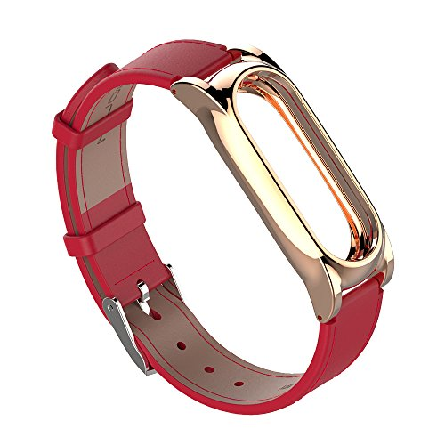 Smart Watch Bracelet Wristband Strap for Xiaomi Miband 2 PU Leather Strap Plated 304 Stainless Steel Frame Adjustable Pin Buckle Fastening by St.Dona (Red+gold)