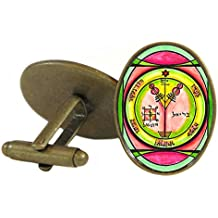 Solomons Seal 4th Pentacle of Jupiter for Wealth & Honor Oval Antique Bronze Gold Pair of Cuff Links