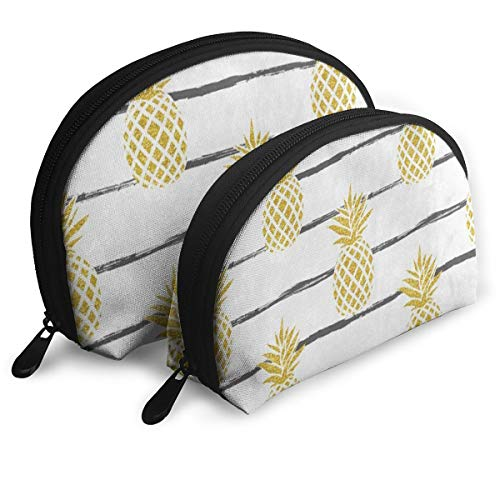 Toiletry Organizer Travel Makeup Clutch Bag Gold Pineapple Fruit On Striped White Portable Bags Pouch Storage Bags