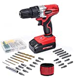 WORKSITE 18V Cordless Electric Drill ScrewDriver with 1300mA Lithium-Ion Battery, 29 Pcs Bits Set, 16 Position Keyless Clutch, Variable Speed Switch, Lightweight, Built-in LED Light, Magnet Wristband For Sale