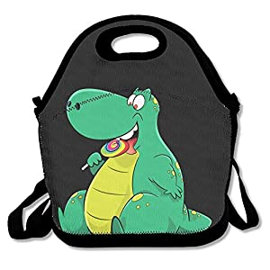 Resuable Polyester Lunch Bag Tote Bag Lunch Organizer with Zipper (Dinosaur Eat Candy, Black)