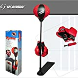 Childrens Kids Adjustable Free Standing Boxing Punch Ball Bag with Gloves Mitts and Pump 80 - 120CM