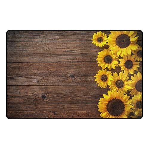 GreaBen Wooden Backgroud Sunflowers Kids Carpet Playmat Rug 60x39 Inches for Living Room Bedroom Kids Room