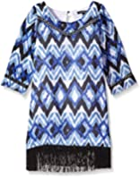 My Michelle Big Girls' Printed Dress with 3/4 Sleeve and Fringe Hem