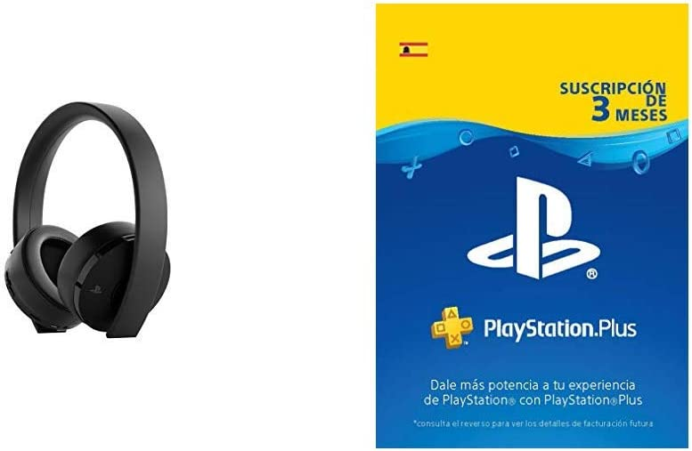 Sony Gold Wireless - Auriculares para juegos PS4, color negro + PS Plus Suscripción 3 Meses: Amazon.es: Videojuegos