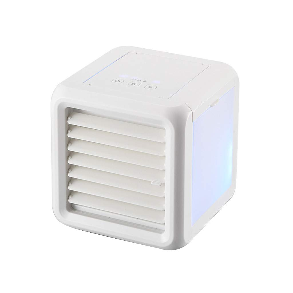 Small Air Conditioner w/Colorful Light, Hanesy USB Charging Air Cooler Mobile Mute Refrigeration Fan | Household Office Desktop Personal Fan | Cooling Humidifier | Air Purifier