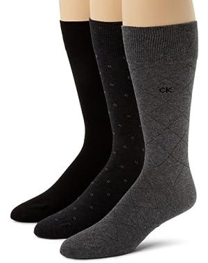 Calvin Klein Men's 3 Pack Fashion Geometric Socks