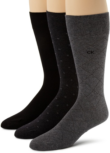 Calvin Klein Men's 3 Pack Fashion Geometric Socks, Charcoal/Graphite/Black, Sock Size: 10-13/Shoe Size:9-11