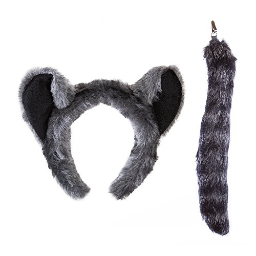 Wildlife Tree Plush Raccoon Ears Headband and Tail Set for Raccoon Costume, Cosplay or Safari Party Costumes