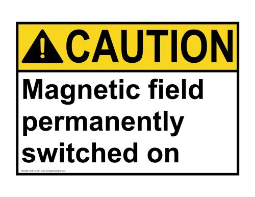 ComplianceSigns Vinyl ANSI CAUTION Label, 7 x 5 in. with MRI / X-Ray / Microwave Info in English, White