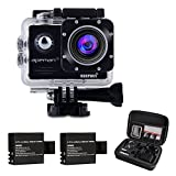 Action Camera, Waterproof Camera Action Camera Sport Camera Action Cam APEMAN 1080P 14MP Wi-Fi 2.0'' LCD Screen Full HD 170° Ultra Wide-Angle Lens With Dual 1050mAh Batteries and Portable Package Case
