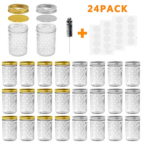 Mason Jars, 8 OZ Mason Jars Canning Jars Jelly Jars With Regular Lids and Bands, Ideal for Jam, Honey, Wedding Favors, Shower Favors, Baby Foods, DIY Magnetic Spice Jars, 24 Pack By SPANLA ()