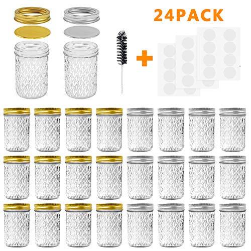 Mason Jars, 8 OZ Mason Jars Canning Jars Jelly Jars With Regular Lids and Bands, Ideal for Jam, Honey, Wedding Favors, Shower Favors, Baby Foods, DIY Magnetic Spice Jars, 24 Pack By SPANLA ()