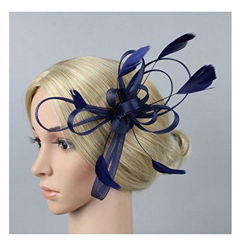 Jelinda Women Colourful Fashion Peacock Feather Bridal Wedding Hair Clip Headpiece Hair Accessory (Navy Blue) from Jelinda