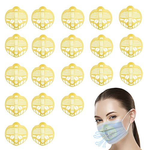 ISWAKI Face Mask Bracket, 20PCS 3D Bracket Internal Support Frame, Internal Support Holder Frame Nose Breathing Smoothly, Keep Fabric off Mouth to Create More Breathing Space, Washable
