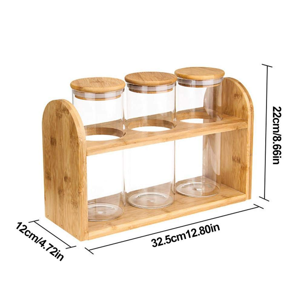 HWTP Glass Storage Bottle with Sealing lid Kitchen Container Food Canned Canned Spice Tea Boxed Bamboo Sugar Box, 3 Packs by HWTP