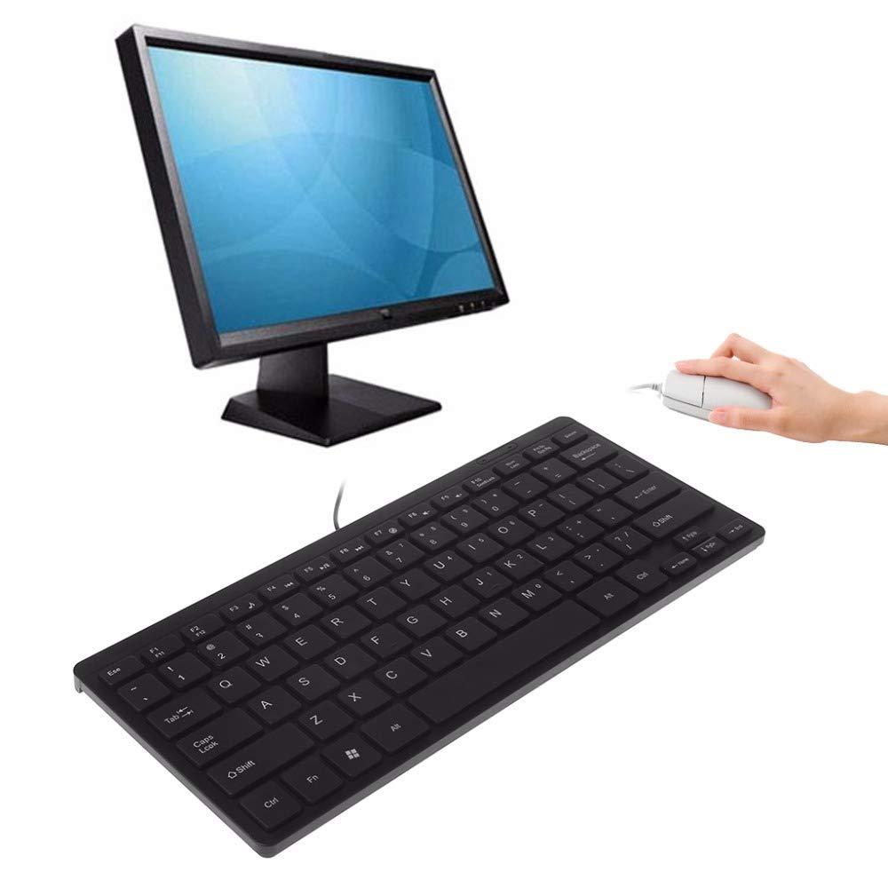 HEASEN Mini Ultra Thin Quiet Keyboard 104 Keys Multimedia USB Wired Keyboards for Laptop PC Desktop Black