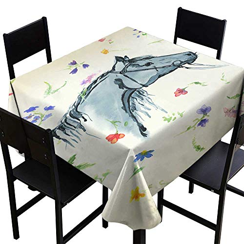 Tablecloth Covers for Home Horse Head with Bridle Silhouette Hand Drawing Watercolor with Wild Flowers on Aged Paper,W50 x L50 Party Tablecloth Covers