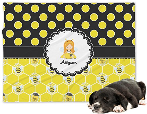 Honeycomb, Bees & Polka Dots Minky Dog Blanket - Regular (Personalized)