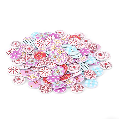 100 Pcs/Set Mixed Color Round Buttons, 2 Holes Wooden Flower Fastener Buttons, 20mm Wood Floral Buttons Accessories for DIY Handmade Craft Decoration & Clothes Sewing