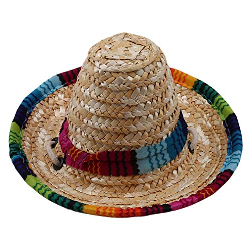 (GloryMM Pets Sun Hat Fashionable Cat Dog Straw Hat Sombrero Funny Mexican Style Costume Accessories Pet Supplies Perfect for Birthday Christmas Halloween)