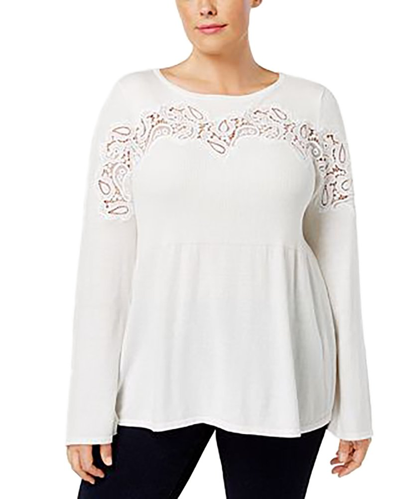 Style & Co. Plus Size Lace-Trimmed Babydoll Sweater (Winter White, 3X)