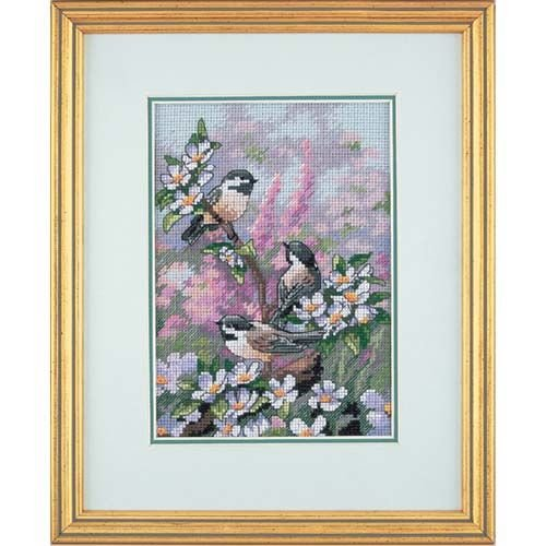 Dimensions Gold Collection Counted Cross Stitch Kit, Chickadees in Spring, 16 Count Dove Grey Aida, 5'' x 7'' Counted Cross Stitch Kit Birds