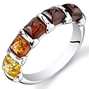 Peora Genuine Baltic Amber Five-Stone Multicolor Half-Eternity Ring Band for Women in Sterling Silver, Comfort Fit…