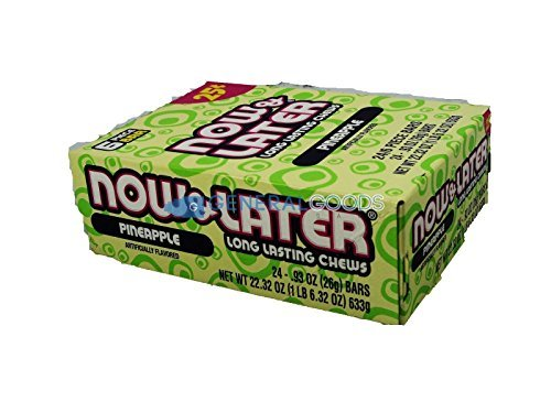 Now and Later Pineapple Flavored Candy Twenty-Four 6-Piece Bars
