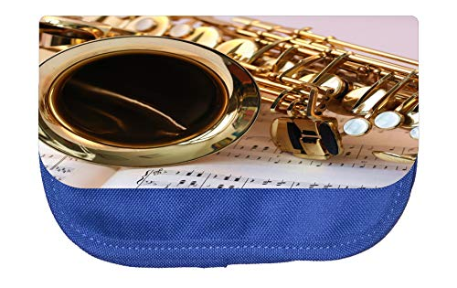 - Pencil Holder Music Saxophone Pencil Pouch 2 Pocket Pencil Case Organizer Pencil Bag Blue