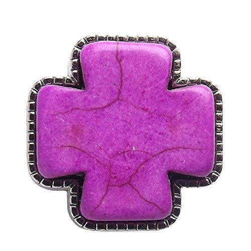(Purple Stone Cross Nestled Nickel Plated Frame.)