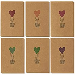 36 Pack Valentine Cards - Romantic Greeting Cards, Love Cards - Brown Kraft Paper Greeting Cards - 6 Colorful Heart Air Balloon Designs, Kraft Paper Envelopes Included - 4 x 6 Inches