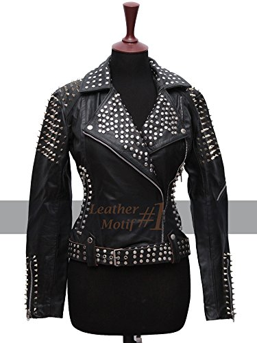 (Britney Spears Till The World Ends Studded Real Black Leather Jacket for Women (L))