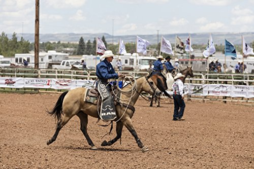 24 x 36 Giclee print of A roper stalks his wild-horse target at a large outdoor rodeo that's a feature of the annual in this case 75th anniversary Jubilee Days - At The District Target