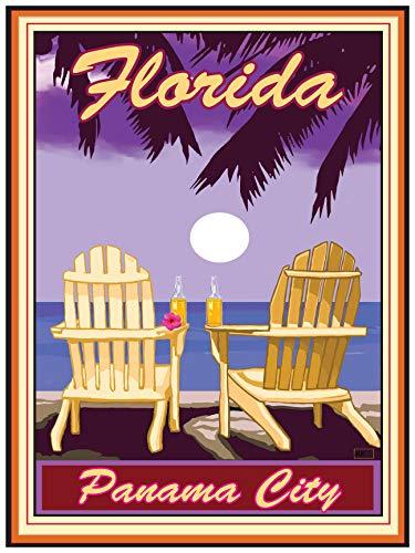 Panama City Florida Adirondack Chairs Palms Corona Giclee Art Print Poster by Joanne Kollman (18