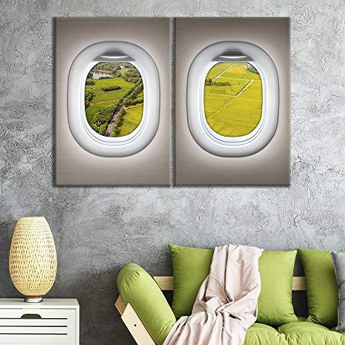 2 Panel Brown Plane Window Seat Grass Plain Roads View x 2 Panels