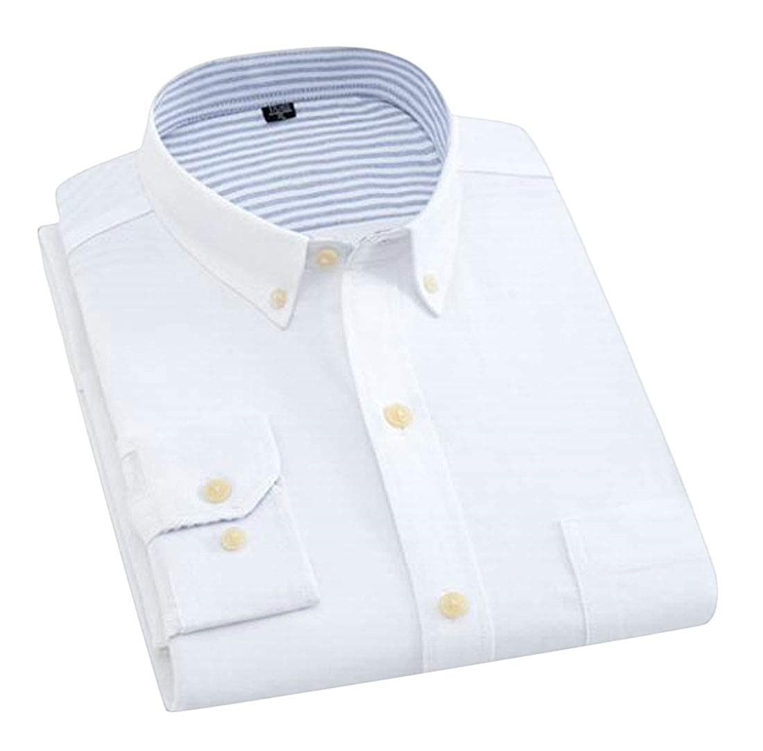 Jofemuho Men Casual Business Button Down Long Sleeve Cotton Solid Slim Dress Oxford Shirt