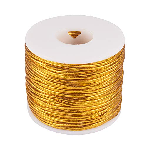 PH PandaHall 2mm 50m/ 54 Yards Metallic Tinsel Elastic Cord Polyester Ribbon Stretch Cord Jewelry Making Gift Wrap Ribbon, Gold
