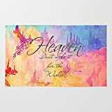 Society6 HEAVEN Don't Miss It For The World, Happy Watercolor Pastel Colorful Typography Christian Painting Rug 4' x 6'