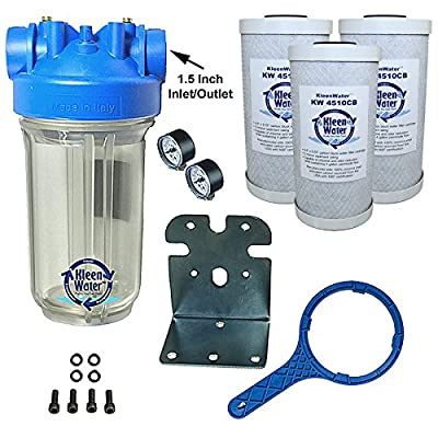 KleenWater Premier Chlorine Whole House Water Filter System, Carbon Block Filters Set of 3, Transparent Housing, 1.5 Inch Inlet/Outlet, Wrench, Mounting Bracket and Hardware