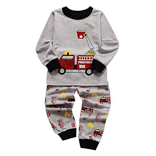2018 1-6 Years Toddler Kids Baby Outfits Set,Boys Girls Pajamas Cartoon Printed Tops Pants (18-24 Months, Gray 1) ()