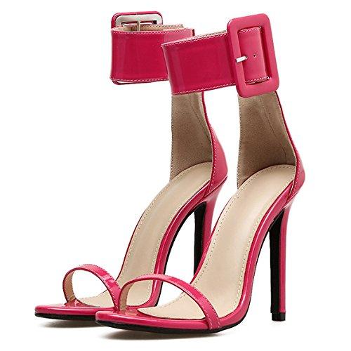 Talons Sandales Hauts Sexy Boucle Dames Strap Soirée Sexy Toe Mariage Ankle Pompes De Stiletto Open Chaussures Party Red Femmes YAdcxWFY