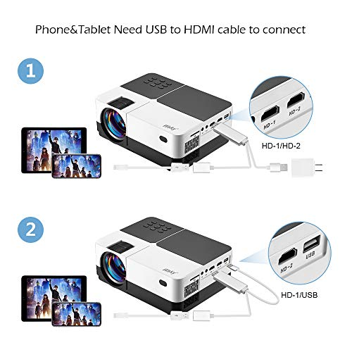 Wsky Video Portable Projector Outdoor Home Theater, LED LCD