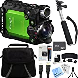 Olympus Stylus TG-Tracker Waterproof 4K Action Cam Green Accessory Bundle includes Camera, 43