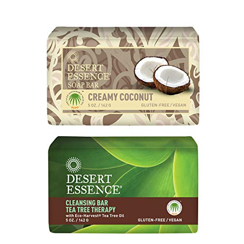 Desert Essence Tea Tree Therapy Cleansing Bar and Creamy Coconut Soap Bar Bundle - 5 oz