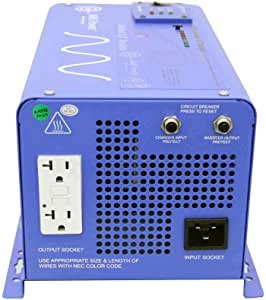 AIMS PICOGLF10W12V120VR 1000 Watt and 3000 Watt Surge 12 VDC Input to 120 VAC Output Pure Sine Inverter Charger Backup Power